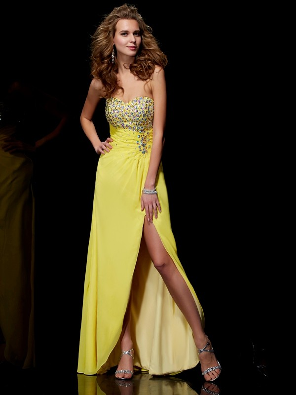 Pleased to be Me Princess Style Sweetheart Long Chiffon Beading Dresses