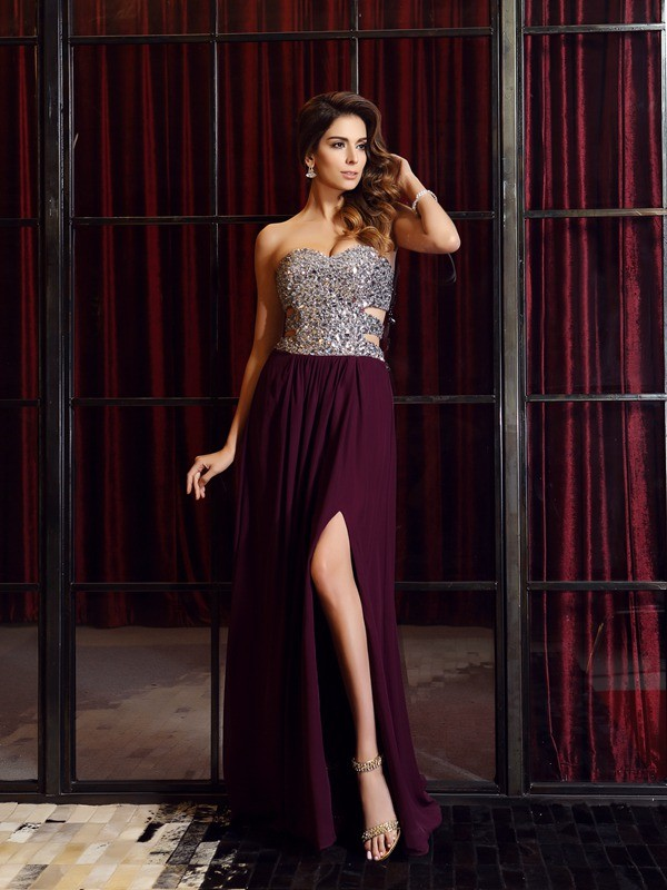 Touch of Texture Princess Style Sweetheart Beading Long Chiffon Dresses