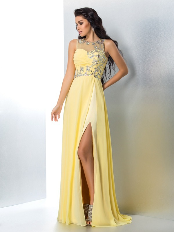 Eye-Catching Charm Princess Style Sheer Neck Beading Long Chiffon Dresses