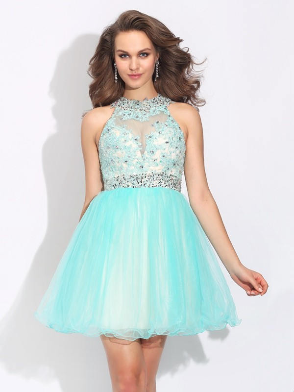 Romantic Vibes Princess Style High Neck Lace Short Net Dresses