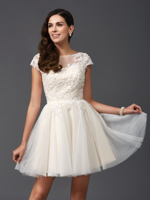 Savor the Occasion Princess Style Scoop Applique Short Net Dresses