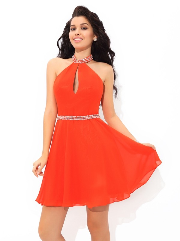 Cordially Delighted Princess Style Beading Halter Short Chiffon Cocktail Dresses