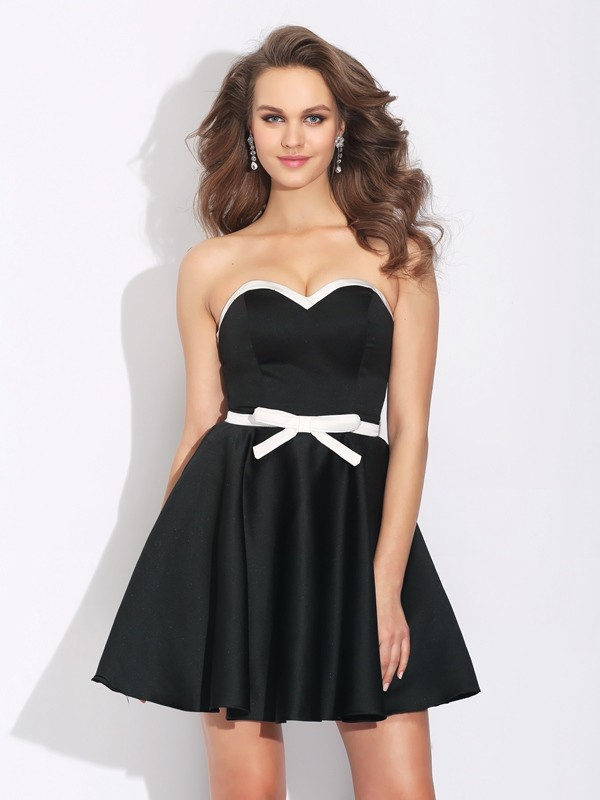 Confident Option Princess Style Sweetheart Bowknot Short Satin Dresses