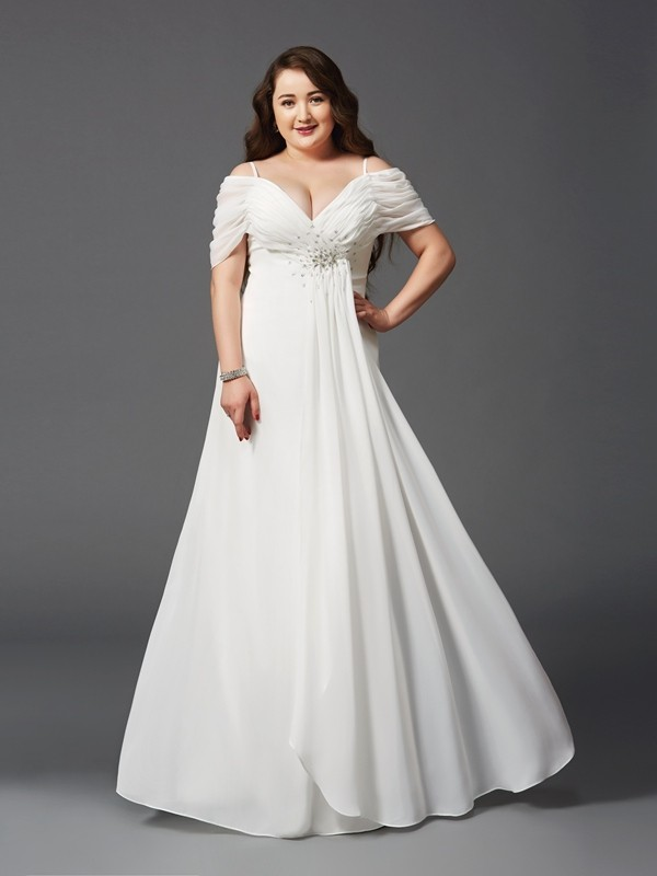 Open to Adoration Princess Style Off-the-Shoulder Ruched Long Chiffon Plus Size Dresses