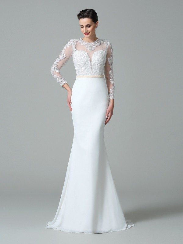 Treasured Reveries Mermaid Style Jewel Lace Long Satin Wedding Dresses