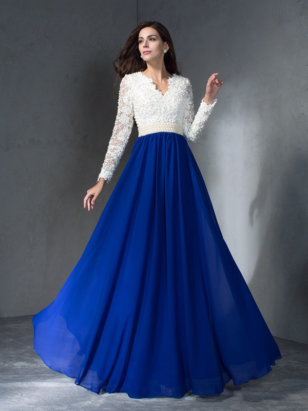 Glitz the Spot Princess Style V-neck Long Chiffon Dresses