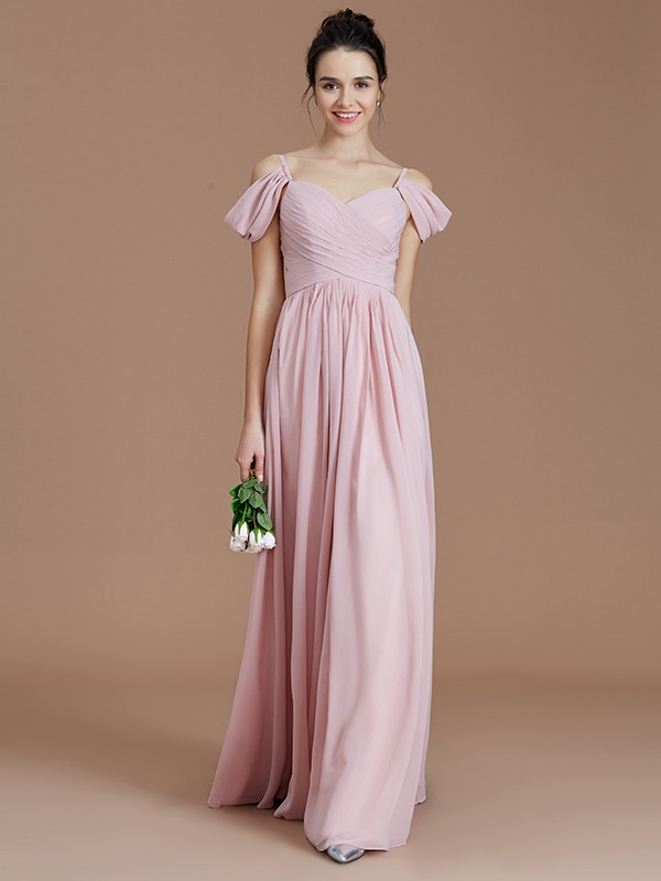Vibrant Stylist Princess Style Off-the-Shoulder With Ruched Floor-Length Chiffon Bridesmaid Dresses