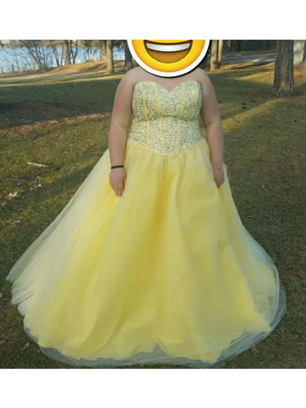 Pleased to be Me Princess Style Sweetheart With Beading Floor-Length Tulle Plus Size Dresses