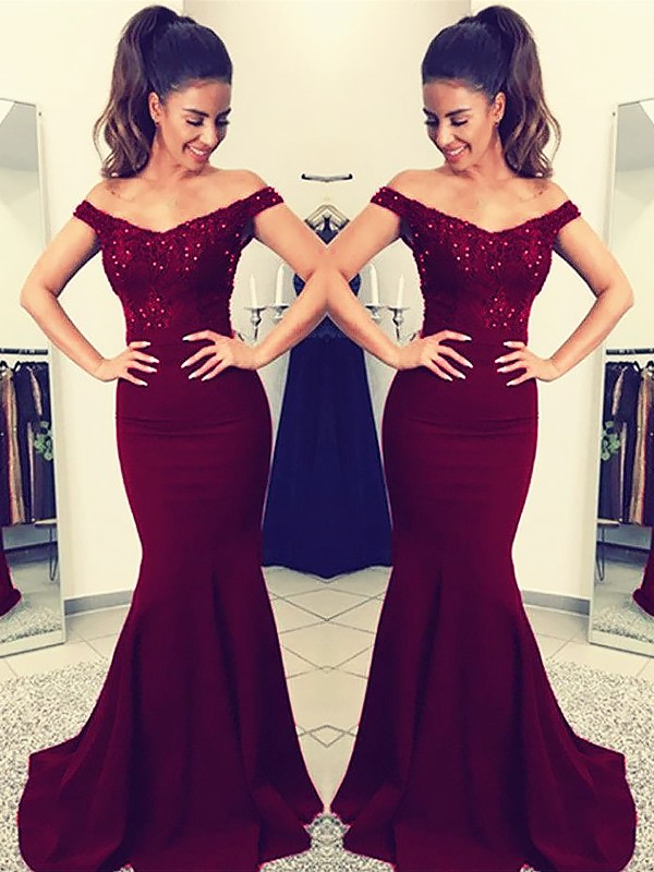Pleasant Emphasis Mermaid Style Off-the-Shoulder Sweep/Brush Train With Lace Satin Dresses