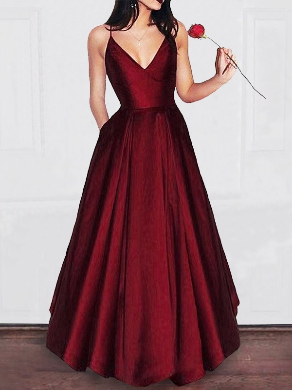 Aesthetic Honesty Princess Style V-neck Floor-Length Satin With Ruffles Dresses