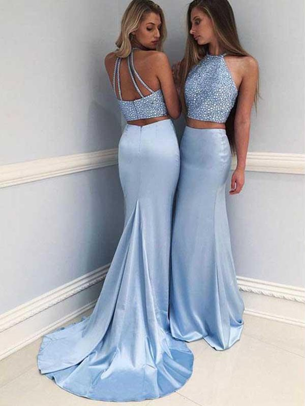 Visual Moment Sheath Style Halter Sweep/Brush Train With Beading Satin Two Piece Dresses