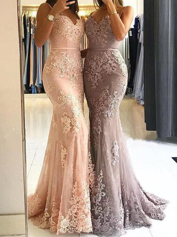 Too Much Fun Sheath Style Spaghetti Straps Sweep/Brush Train With Lace Tulle Dresses