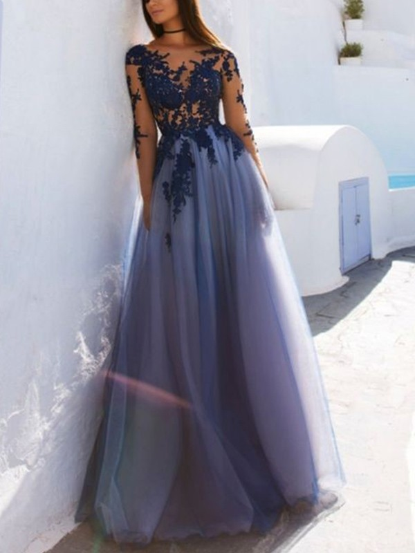 Just My Style Princess Style Scoop Floor-Length With Applique Tulle Dresses