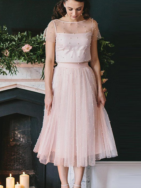 First Impressions Princess Style Tulle Scoop Tea-Length Two Piece Dresses
