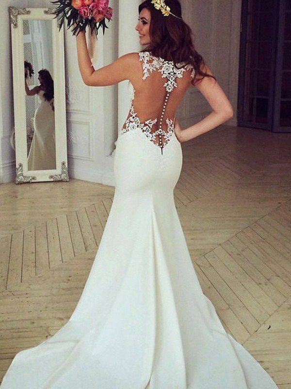 Yours Truly Mermaid Style Scoop Sweep/Brush Train With Applique Lace Wedding Dresses