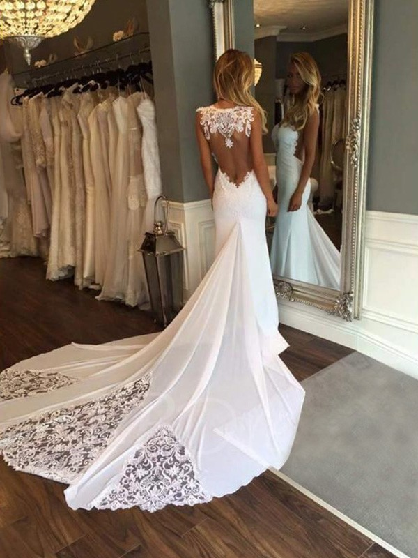 Modern Mood Mermaid Style Sweetheart With Applique Cathedral Train Lace Wedding Dresses