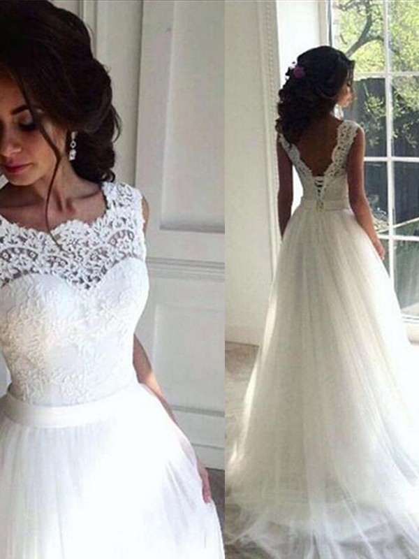 Naturally Chic Princess Style Lace With Sash/Ribbon/Belt Tulle Bateau Sweep/Brush Train Wedding Dresses