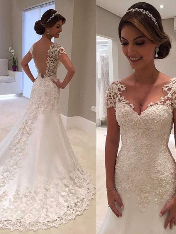Sweet Sensation Mermaid Style Sweetheart Sweep/Brush Train Lace Wedding Dresses