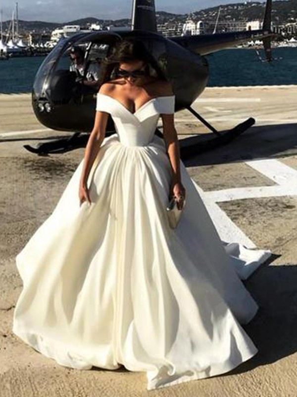Styled to Smile Ball Gown Off-the-Shoulder Court Train Satin Wedding Dresses