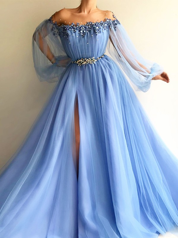 Pretty Looks Princess Style Off-the-Shoulder Tulle With Beading Floor-Length Dresses