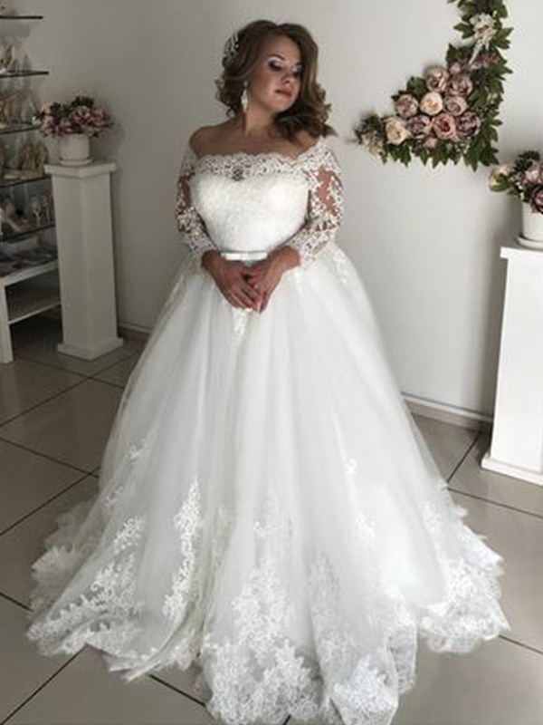 Pretty Looks Princess Style Off-the-Shoulder Long Sleeves Sweep/Brush Train Lace Tulle Wedding Dresses