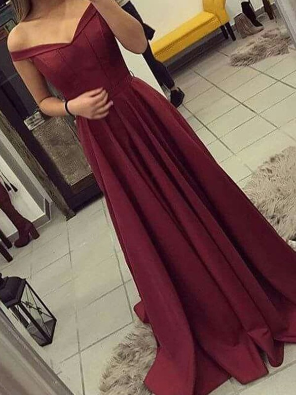 Limitless Looks Princess Style Off-the-Shoulder Sleeveless Sweep/Brush Train Ruched Satin Dresses