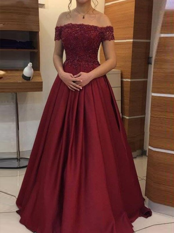 Yours Truly Ball Gown Off-the-Shoulder Floor-Length With Applique Satin Dresses