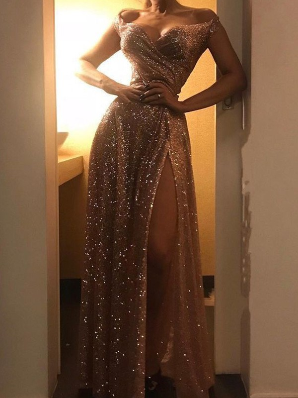 Just My Style A-Line Sequins Ruched Off-the-Shoulder Long Champagne Prom Dresses