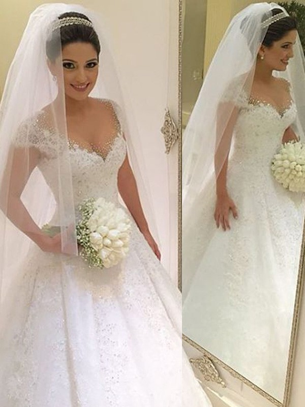 Pleasant Emphasis Ball Gown V-neck Beading Floor-Length Tulle Wedding Dresses