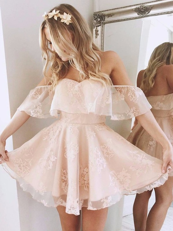 Styled to Smile Princess Style Off-the-Shoulder Short/Mini Lace Dresses