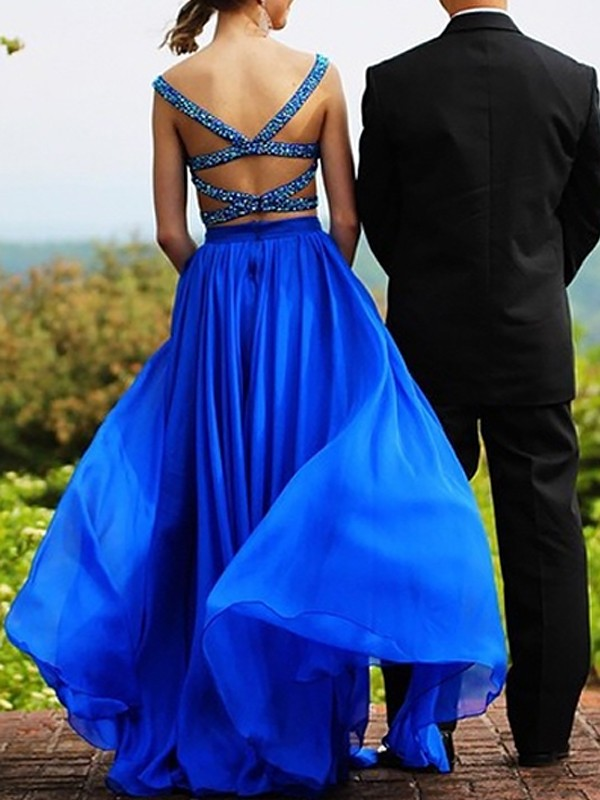 Dancing Queen Princess Style Sweetheart Chiffon With Beading Floor-Length Two Piece Dresses