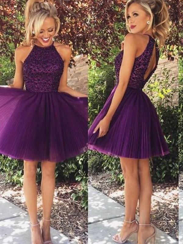 Limitless Looks Princess Style Halter Beading Short/Mini Tulle Dresses