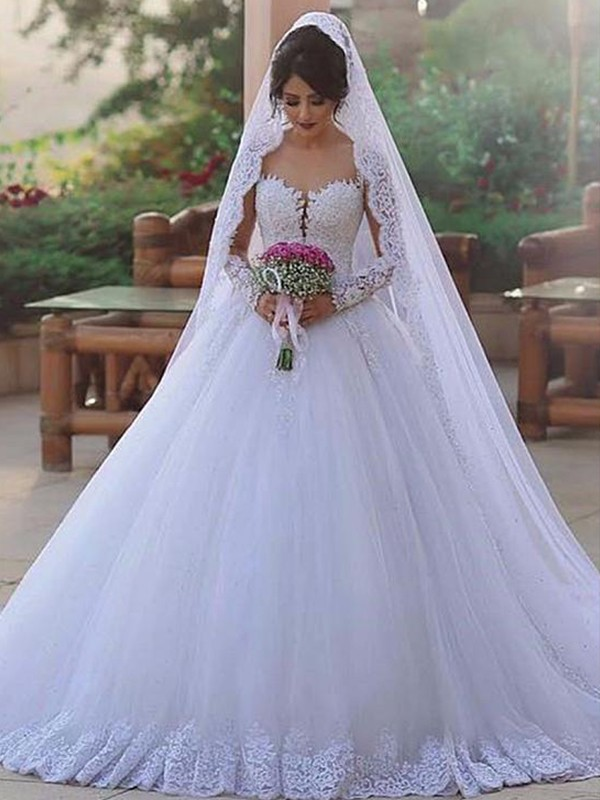 Visual Moment Ball Gown Sweetheart Sweep/Brush Train Lace Tulle Wedding Dresses