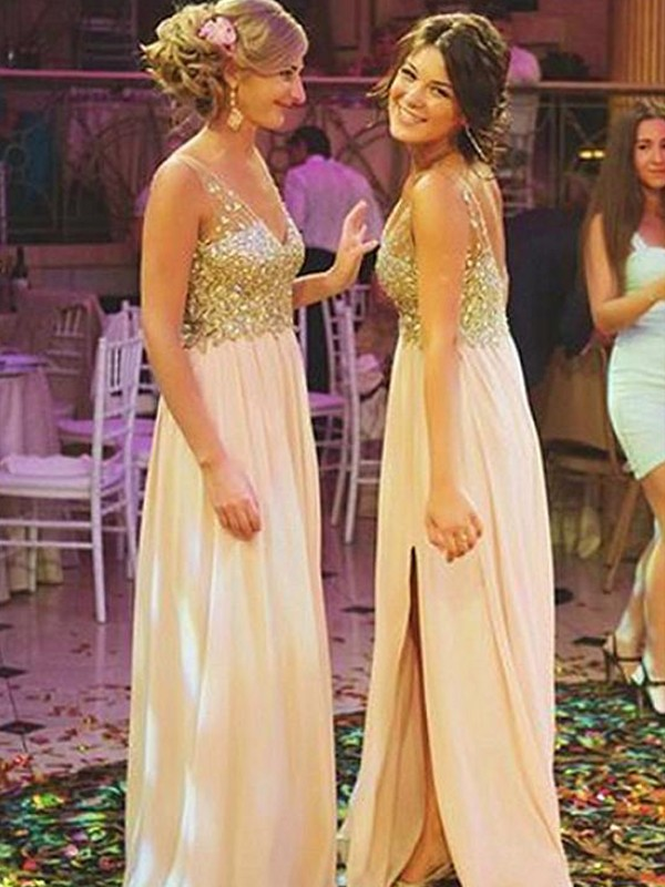 Pleasant Emphasis Princess Style V-neck Sweep/Brush Train Sequin Chiffon Bridesmaid Dresses