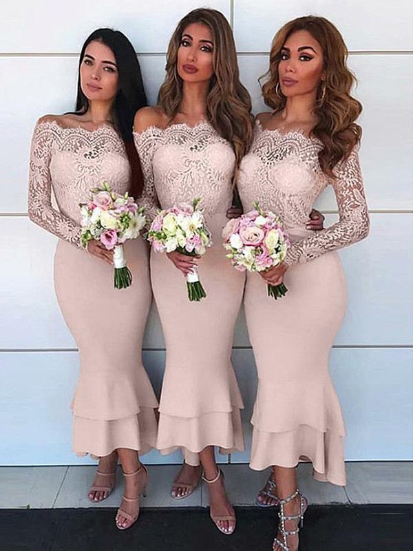 Chic Chic London Sheath Style Off-the-Shoulder Ankle-Length Lace Jersey Bridesmaid Dresses