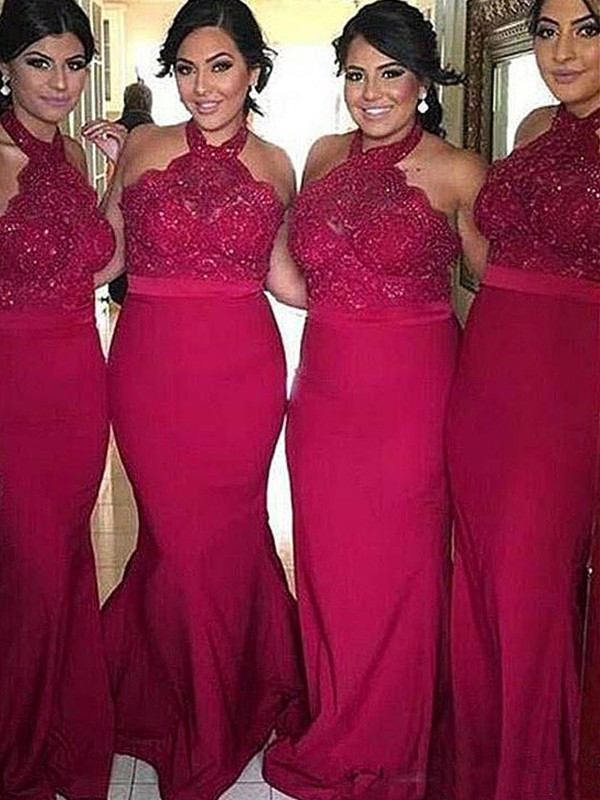 Limitless Looks Sheath Style Halter Sweep/Brush Train Lace Satin Bridesmaid Dresses