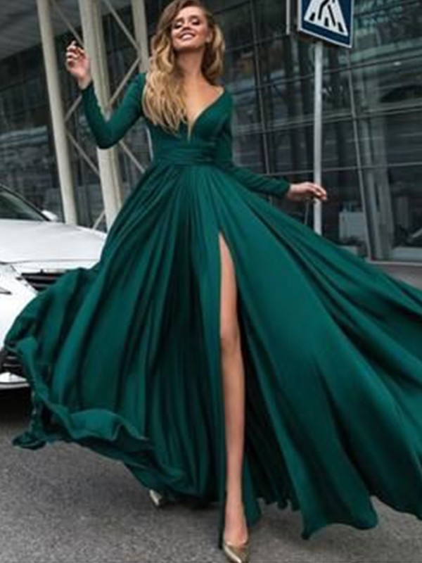 9ea2b9cc109 Dashing Darling Princess Style V-Neck Floor-Length With Ruffles Satin  Chiffon Dresses