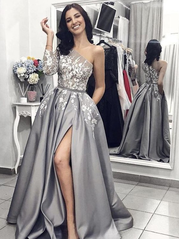 First Impressions Princess Style Sleeveless One-Shoulder Sweep Brush Train  Applique Satin Dresses 6d9767b54