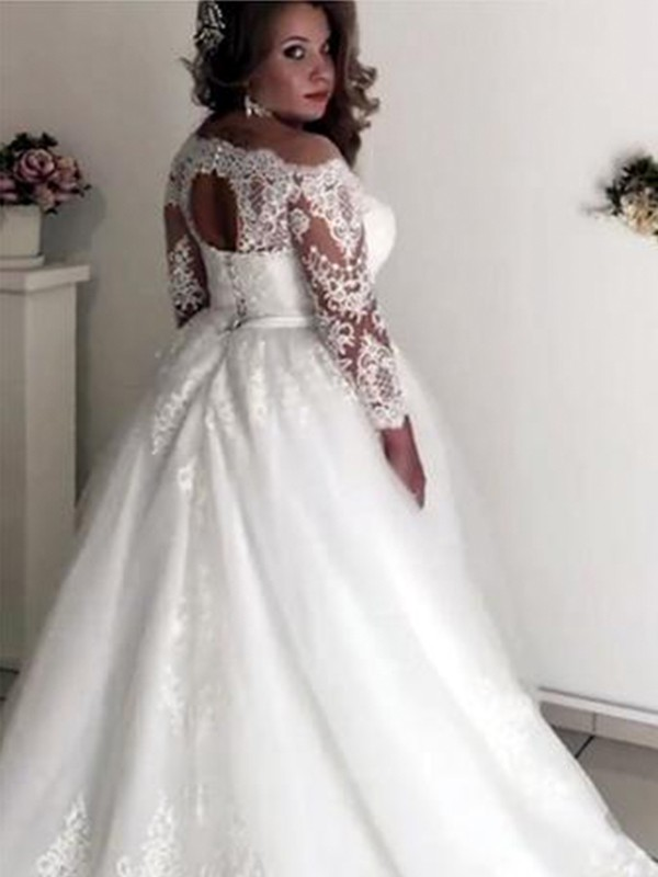 70b7543ed61 Pretty Looks Princess Style Off-the-Shoulder Long Sleeves Sweep Brush Train  Lace ...