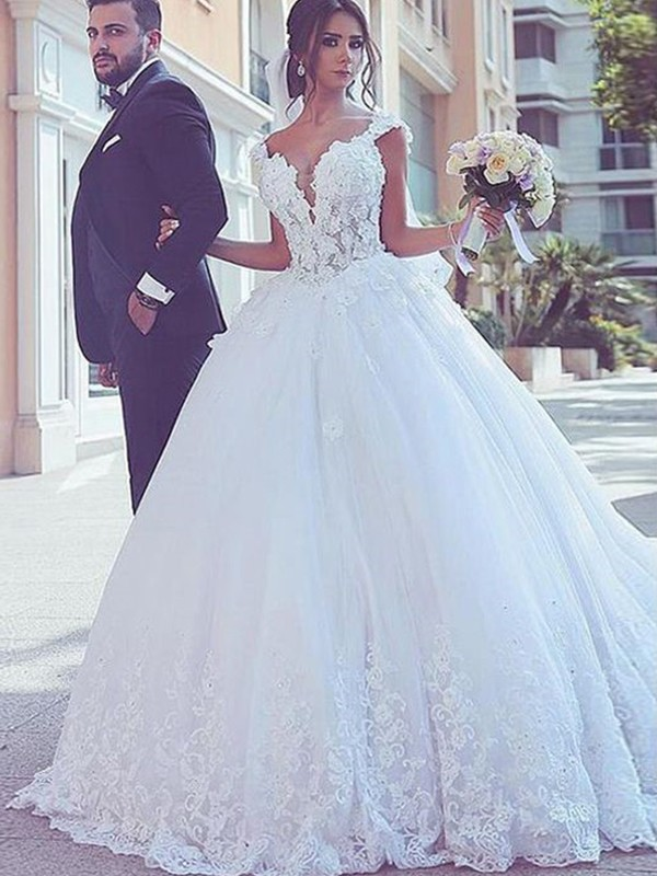 dc4128d9d87 Fabulous Fit Ball Gown Sweetheart Sweep Brush Train Lace Tulle Wedding  Dresses