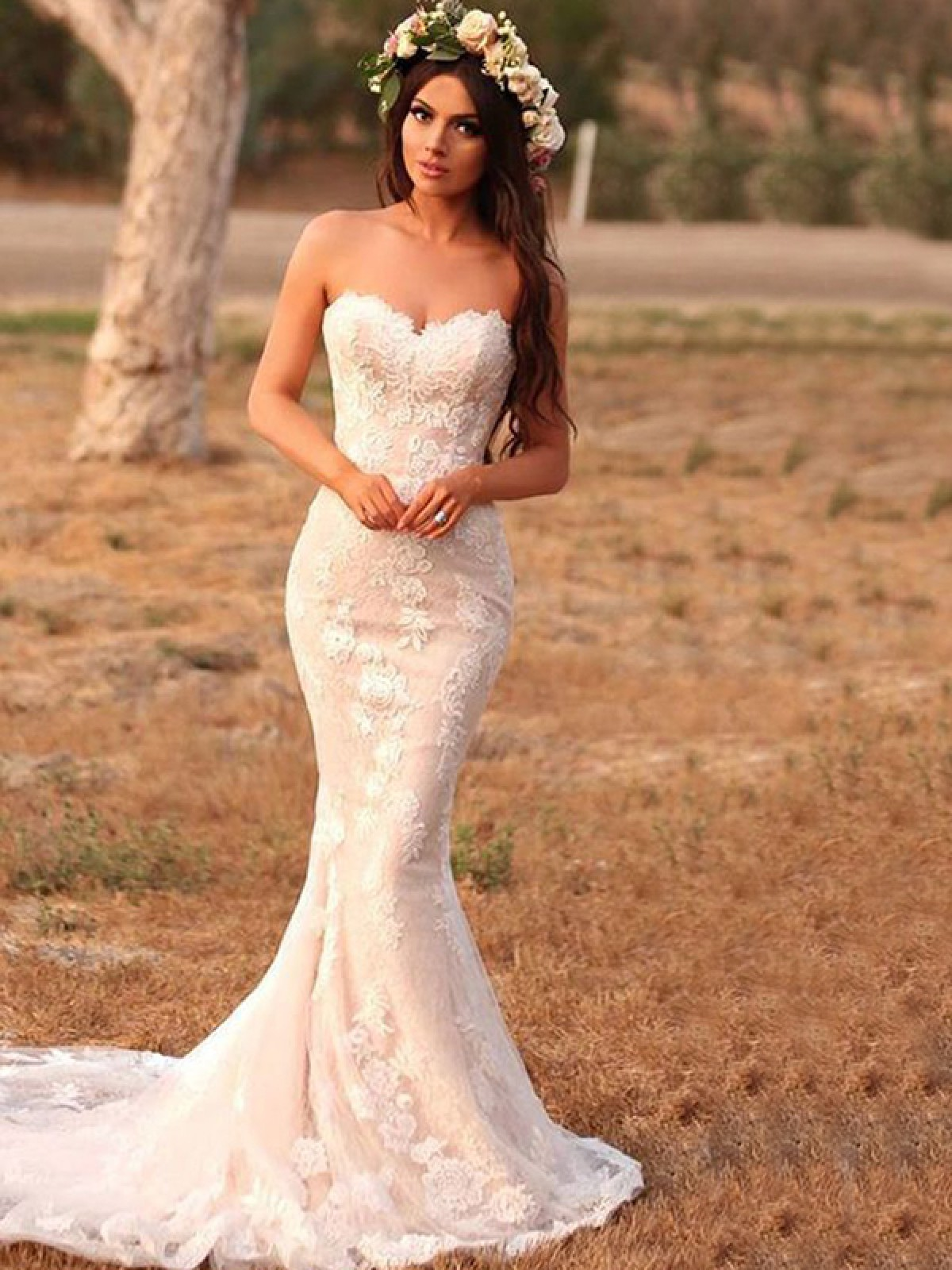 Memorable Magic Mermaid Style Lace With Applique Sweetheart Sweep Brush Train Wedding Dresses Joybetty Online