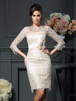 Treasured Reveries Sheath Style Scoop Bowknot Short Lace Mother of the Bride Dresses