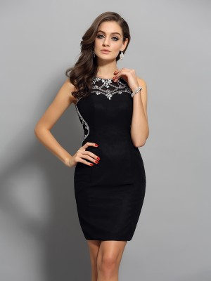 Intuitive Impact Sheath Style Scoop Beading Short Chiffon Cocktail Dresses