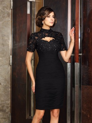 Just My Style Sheath Style High Neck Beading Short Chiffon Mother of the Bride Dresses