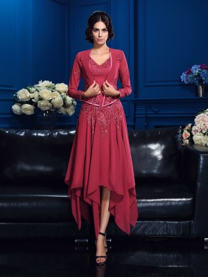 Yours Truly Princess Style V-neck Applique High Low Chiffon Mother of the Bride Dresses