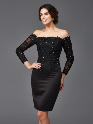Just My Style Sheath Style Off-the-Shoulder Lace Short Satin Mother of the Bride Dresses