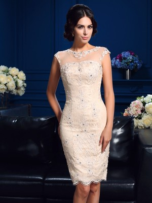 Fresh Picks Sheath Style Sheer Neck Lace Short Lace Mother of the Bride Dresses