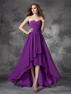 Lively Identity Princess Style Sweetheart Ruffles High Low Chiffon Bridesmaid Dresses
