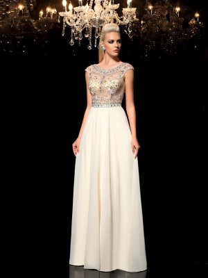 Festive Self Princess Style Sheer Neck Rhinestone Long Chiffon Dresses
