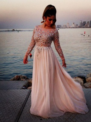 Pretty Looks Long Sleeves Princess Style Bateau Beading Sweep/Brush Train Chiffon Dress
